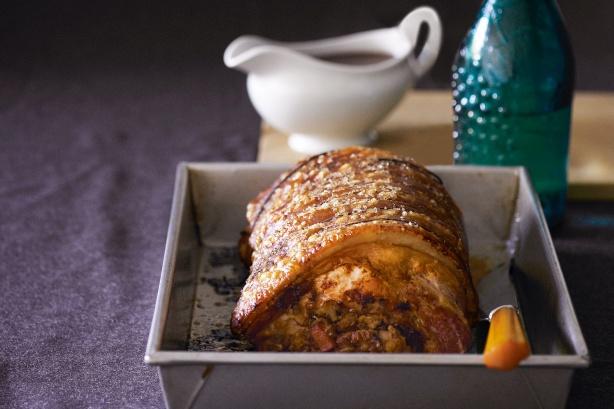 ... community » Roast pork with prune & walnut stuffing & red wine gravy