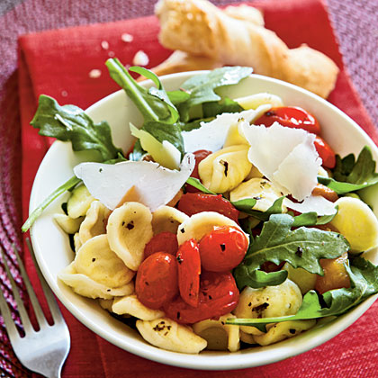 ... community » Orecchiette with Roasted Peppers, Arugula, and Tomatoes