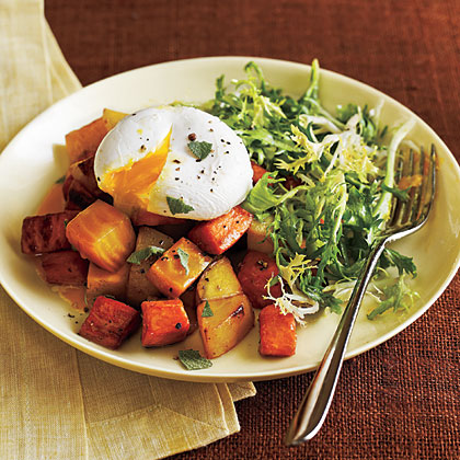 ... community » Two Potato and Beet Hash with Poached Eggs and Greens